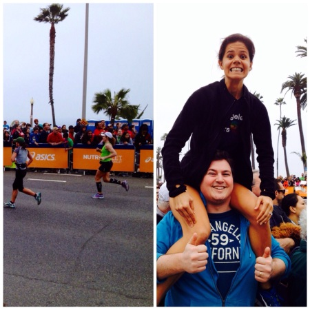 Marta at the LA Marathon (That is not a random man. I'm on our friend Alex's shoulders. Needed a view of Marta's sprint to the finish!)