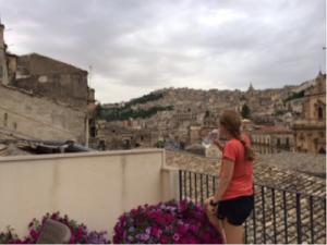 Modica, Sicily: Taking in the view from the hotel's rooftop balcony after my run
