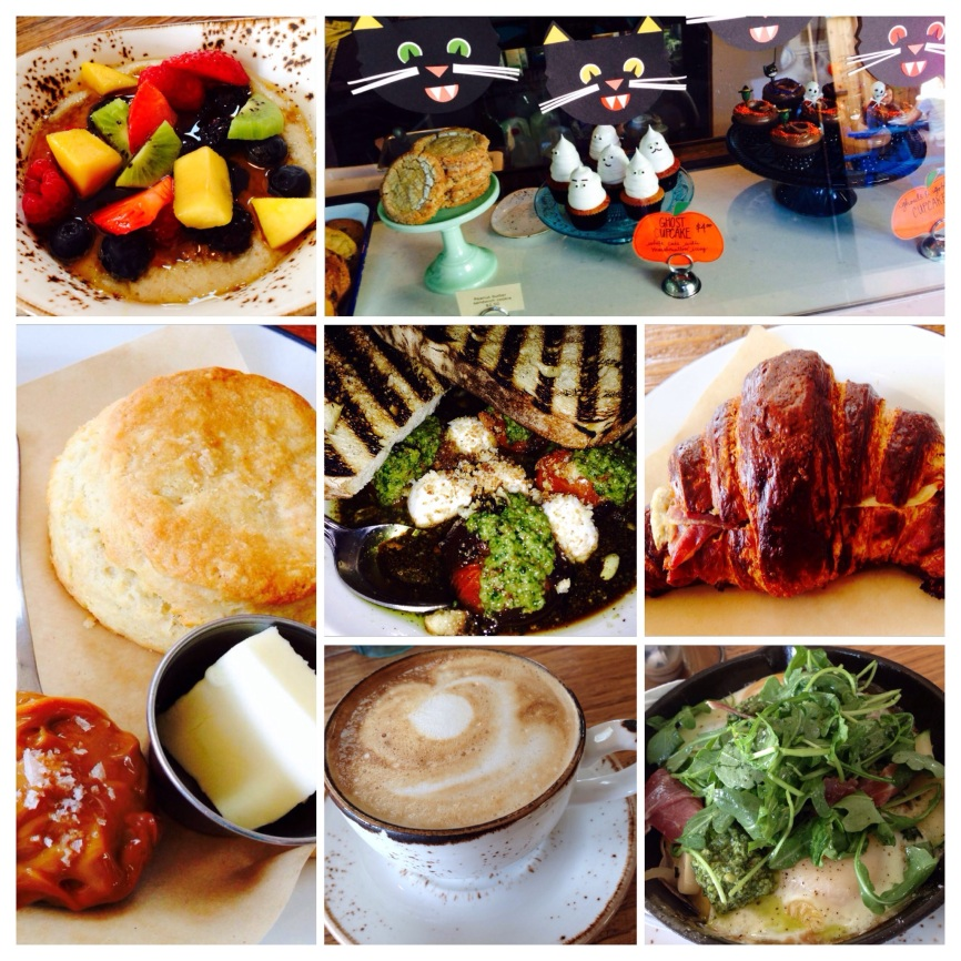 Cream of Wheat and Quinoa, Halloween Fun at Provisions, Dulce De Leche Biscuit, Stewed Tomatoes, Pretzel Croissant with Cheese and Prosciutto, Almond Latte, Baked Eggs with Kale Pesto and  Prosciutto