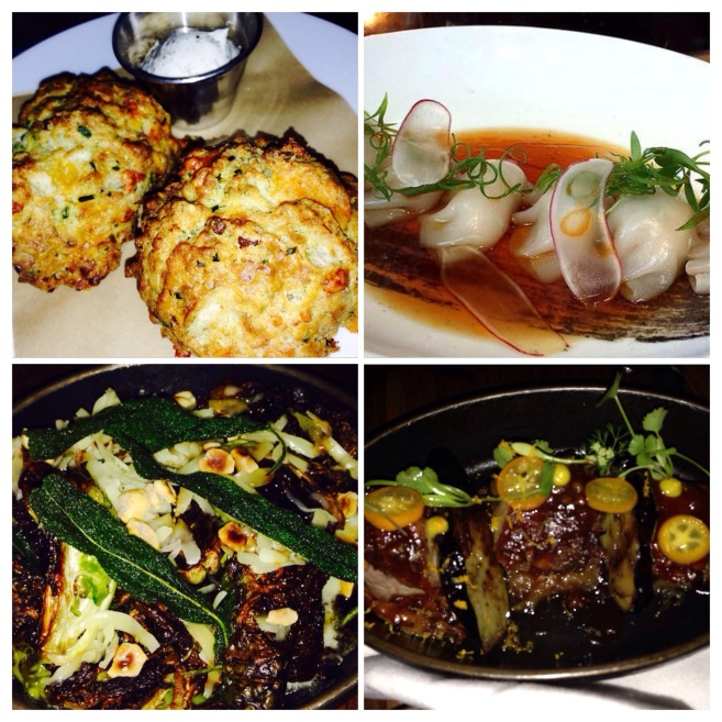 Cheddar Bacon Biscuits, Shrimp and Pork Dumplings, BEST BRUSSEL SPROUTS EVER, and Lamb Belly with Eggplant